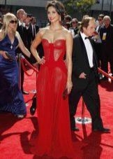 Красное длинное шифоновое платье