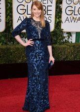 Темно-синее длинное кружевное платье с пайетками