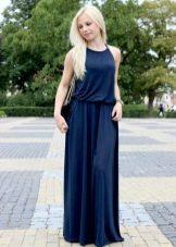 Длинное летнее платье синего цвета
