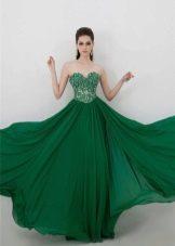 Зеленое платье в пол