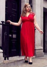 Красное вечернее длинное платье для полных