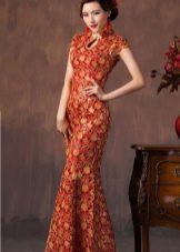 Красное восточное платье