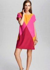 Розово-желтое платье
