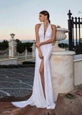 Свадебное платье шелковое с разрезом