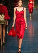 Шелковое платье-комбинация красное