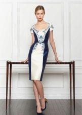 Шелковое платье от Carolina Herrera белое с синим