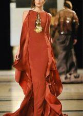 Длинное терракотовое платье