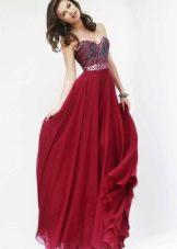Платье вишневое в пол