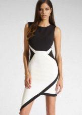 Строгое асимметричное черно-белое платье