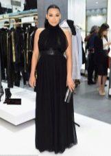 Длинное черное платье в пол без рукава для беременных