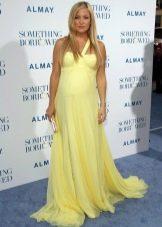 Длинное желтое платье в пол для беременных