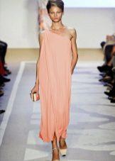 Платье мешок персиковое