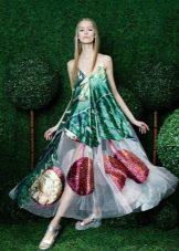 Платье мешок  с принтом