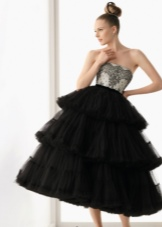 Вечернее чорное пышное платье
