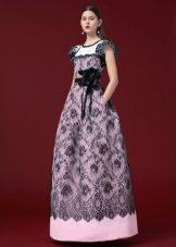 Платье из гипюра а-силуэта в пол