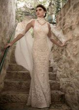 Белое гипюровое платье с американской проймой