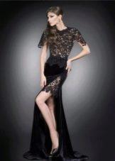 Бархатное платье с гипюровым верхом