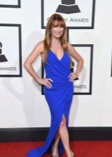 Грэмми--2016  платье с разрезами синее
