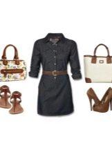 Платье-рубашка и аксессуары к нему для женщин цветотипа Осень