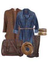 Платье-рубашка из денима и аксессуары для женщин цветотипа Осень