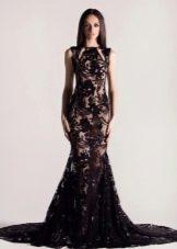 Черное кружевное платье русалка