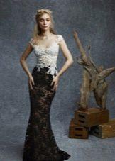 Черное-белое кружевное платье в пол