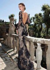 Кружевное черное в пол платье с открытой спиной