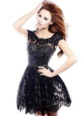 Кружевное пышное платье короткое