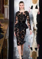 кружевное платье футляр с баской