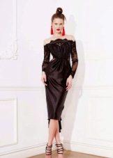 Платье с кружевными рукавами футляр