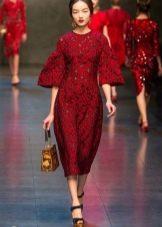 Кружевное платье с дпышным рукавом