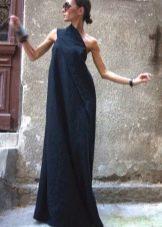 Синее асимметричное длинное льняное платье
