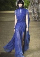Elie Saab весна-лето 2016 синее платье-сари