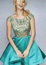 Платье бэби долл цвета морской волны с отделкой из страз