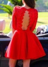 Платье бэби долл красного цвета с открытой спиной