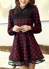 Клетчатое черно-бордовое платье бэби долл
