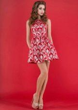 платье из неопрена красное с принтом
