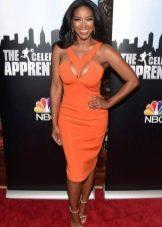 Оранжевое платье-футляр из вискозы