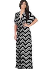 Платье кимоно черно-белое для полной женщины