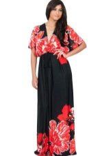 Платье кимоно черно-красное для полной женщины