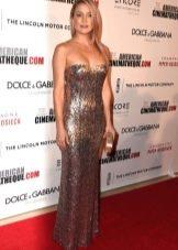Длинное серебристое платье-бюстье прямого силуэта