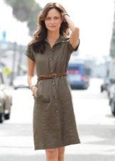 Офисное платье-рубашка цвета хаки