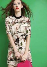 Платье-рубашка с рисунком