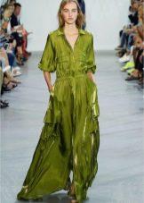 Длинное зеленое платье-рубашка