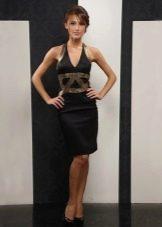 Серное платье средней длины с американской проймой