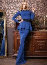 Синее вечернее платье с баской