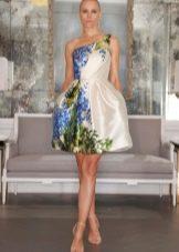 Модное белое платье с корсетом с цветочным принтом