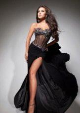 Платье черное с прозрачным корсетом и стразами