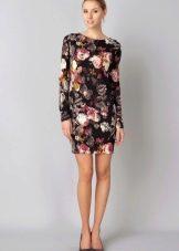 Серное платье со светлыми розами