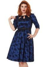 Синее с принтом платье с юбкой полусолнце для полных